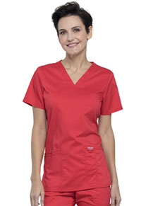 Cherokee Workwear V-Neck Top Hot Tomato (WW620-HOTT)