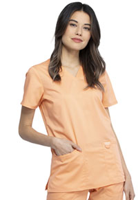 Cherokee Workwear V-Neck Top Mango Smoothie (WW620-MTHY)