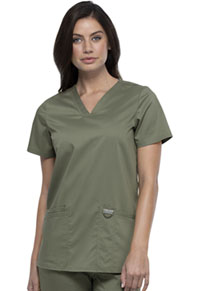 Cherokee Workwear V-Neck Top Olive (WW620-OLV)