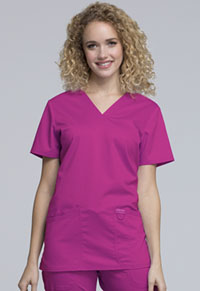 Cherokee Workwear V-Neck Top Pink Azalea (WW620-PKAZ)