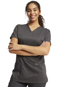 Cherokee Workwear V-Neck Top Pewter (WW620-PWT)