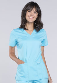 Cherokee Workwear V-Neck Top Turquoise (WW620-TRQ)