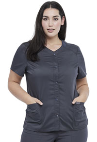 Cherokee Workwear Snap Front V-Neck Top Pewter (WW622-PWT)