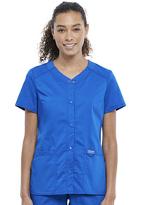Cherokee Workwear Snap Front V-Neck Top Royal (WW622-ROY)