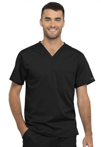 Cherokee Workwear Unisex 1 Pocket V-Neck Top Black (WW625-BLK)
