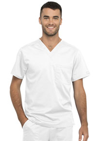 Cherokee Workwear Unisex 1 Pocket Tuckable V-Neck Top White (WW625-WHT)