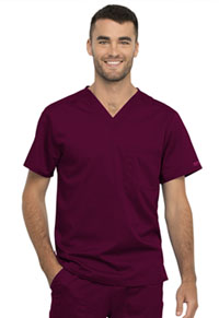 Cherokee Workwear Unisex 1 Pocket Tuckable V-Neck Top Wine (WW625-WIN)