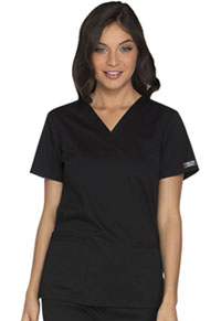 Cherokee Workwear V-Neck Top Black (WW630-BLKW)