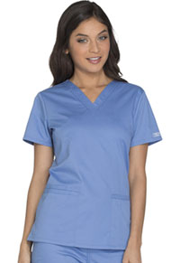 Cherokee Workwear V-Neck Top Ciel (WW630-CIEW)
