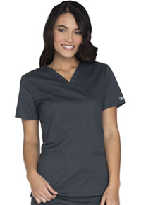 Cherokee Workwear V-Neck Top Pewter (WW630-PWTW)