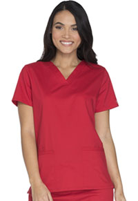 Cherokee Workwear V-Neck Top Red (WW630-REDW)