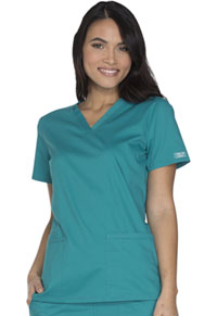Cherokee Workwear V-Neck Top Teal Blue (WW630-TLBW)