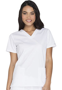 Cherokee Workwear V-Neck Top White (WW630-WHTW)