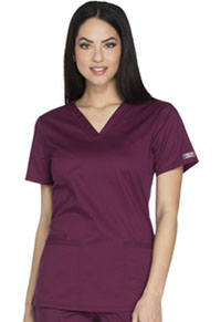 Cherokee Workwear V-Neck Top Wine (WW630-WINW)