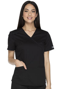 Cherokee Workwear Mock Wrap Top Black (WW640-BLKW)