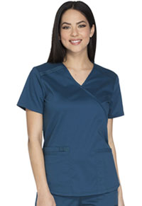Cherokee Workwear Mock Wrap Top Caribbean Blue (WW640-CARW)