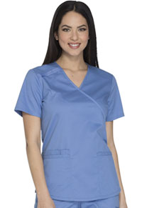 Cherokee Workwear Mock Wrap Top Ciel (WW640-CIEW)