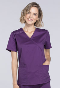 Cherokee Workwear Mock Wrap Top Eggplant (WW640-EGGW)