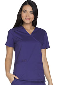 Cherokee Workwear Mock Wrap Top Grape (WW640-GRPW)