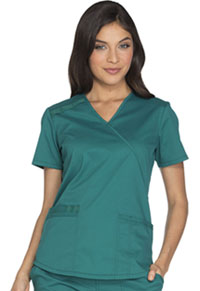 Cherokee Workwear Mock Wrap Top Hunter (WW640-HUNW)