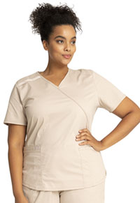 Cherokee Workwear Mock Wrap Top Khaki (WW640-KAKW)