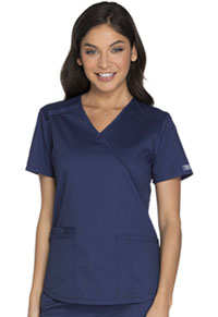 Cherokee Workwear Mock Wrap Top Navy (WW640-NAVW)