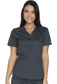 Cherokee Workwear Mock Wrap Top Pewter (WW640-PWTW)