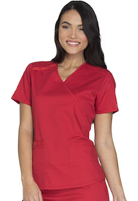 Cherokee Workwear Mock Wrap Top Red (WW640-REDW)