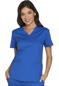 Cherokee Workwear Mock Wrap Top Royal (WW640-ROYW)