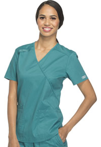 Cherokee Workwear Mock Wrap Top Teal Blue (WW640-TLBW)