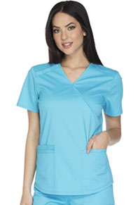 Cherokee Workwear Mock Wrap Top Turquoise (WW640-TRQW)