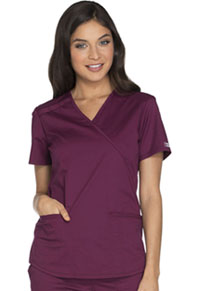 Cherokee Workwear Mock Wrap Top Wine (WW640-WINW)