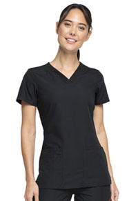Cherokee Workwear V-Neck Top Black (WW645-BLKW)