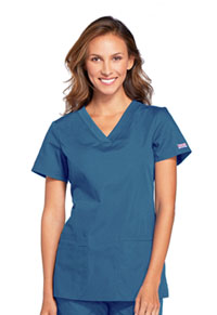 Cherokee Workwear V-Neck Top Caribbean Blue (WW645-CARW)