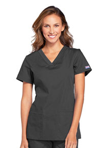 Cherokee Workwear V-Neck Top Pewter (WW645-PWTW)