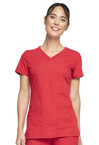 Cherokee Workwear V-Neck Top Red (WW645-REDW)