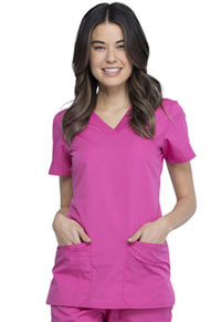 Cherokee Workwear V-Neck Top Shocking Pink (WW645-SHPW)