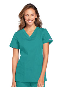 Cherokee Workwear V-Neck Top Teal Blue (WW645-TLBW)