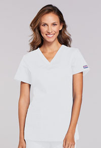 Cherokee Workwear V-Neck Top White (WW645-WHTW)