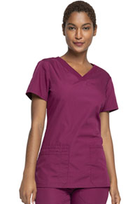 Cherokee Workwear V-Neck Top Wine (WW645-WINW)