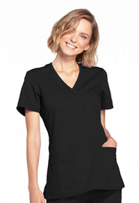 Cherokee Workwear Mock Wrap Top Black (WW650-BLKW)