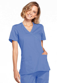 Cherokee Workwear Mock Wrap Top Ciel (WW650-CIEW)