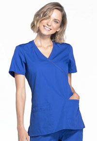 Cherokee Workwear Mock Wrap Top Galaxy Blue (WW650-GABW)
