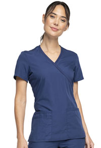 Cherokee Workwear Mock Wrap Top Navy (WW650-NAVW)