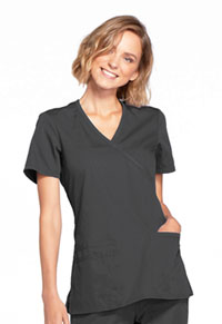 Cherokee Workwear Mock Wrap Top Pewter (WW650-PWTW)