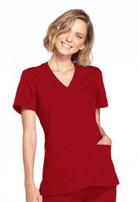 Cherokee Workwear Mock Wrap Top Red (WW650-REDW)