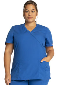 Cherokee Workwear Mock Wrap Top Royal (WW650-ROYW)