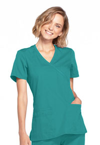 Cherokee Workwear Mock Wrap Top Teal Blue (WW650-TLBW)