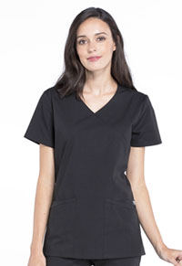 Cherokee Workwear Mock Wrap Top Black (WW655-BLK)