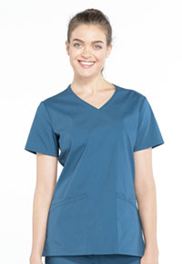 Cherokee Workwear Mock Wrap Top Caribbean Blue (WW655-CAR)
